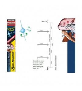 Terminale Bolentino Competizione Fluorocarbon 3 Ami Roccia Amo FURANSU 8 MM 0,28-0,25