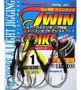 Assist Hook Amo Misura 2 Decoy DJ-88 Twin Pike Assist Hook For Shore e Light Jigging